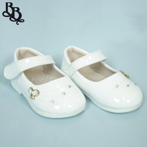 G465 Girls Patent Formal Shoe with Bow Diamante