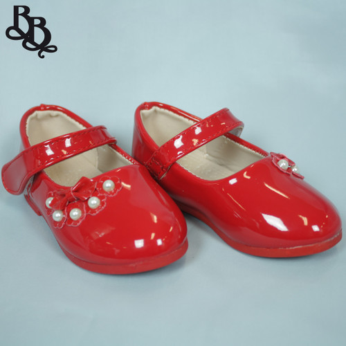 G466 Girls Patent Formal Shoe with Bow and Pearl Flora