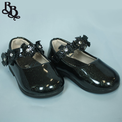 G467 Girls Glittery Formal Shoe with Floral Strap