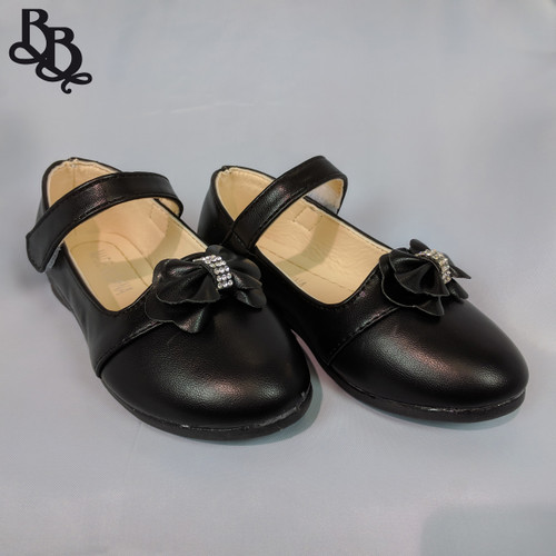 G470 Girls Faux Leather Formal Shoe with Bow Diamante