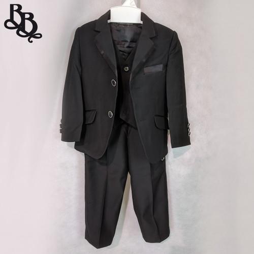 NN565 Boys Toddler Black Satin Suit 3 Piece