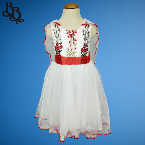 W012 Girls Floral Dress Red Blue