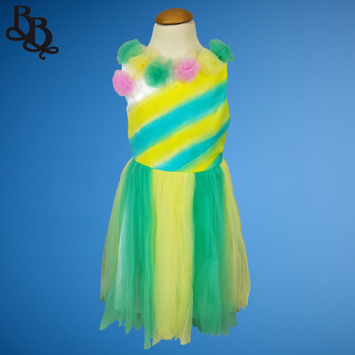 W013 Girls Colorful Floral Dress Pink Green