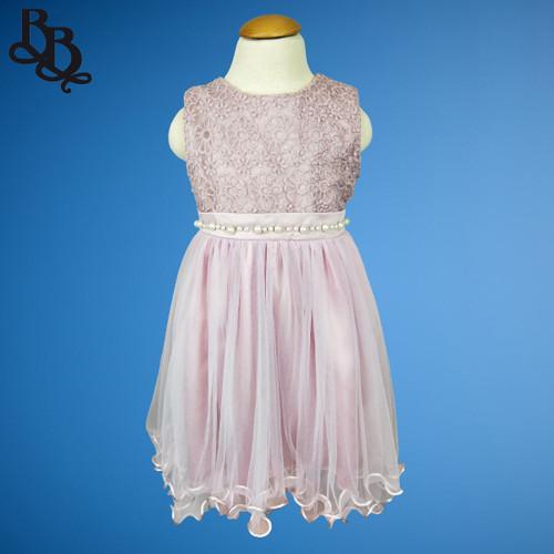 W015 Girls Floral Dress Purple White
