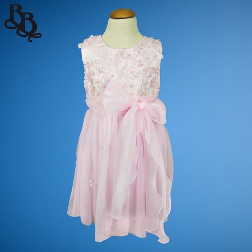 W017 Girls Floral Dress Pink White