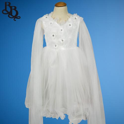 W018 Girls White Floral Dress