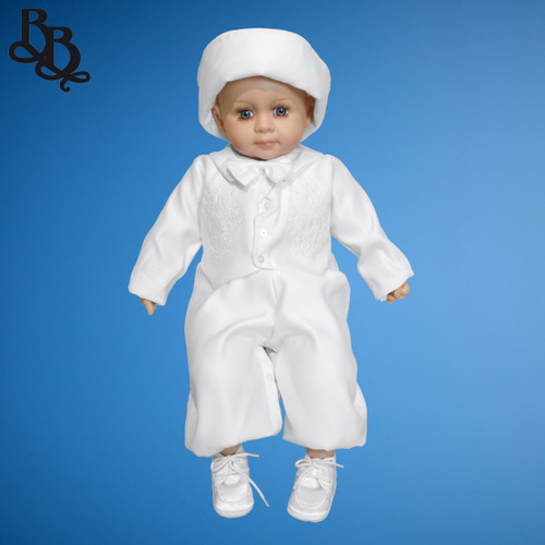 BB15 Boys Long Sleeve Christening Romper Cross