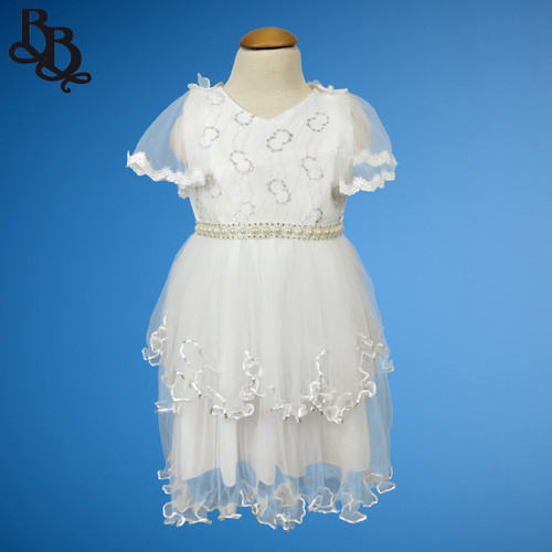 W116 Girls White Formal Party Dress