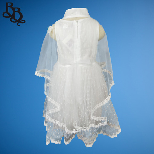 W118 Girls White Party Dress with Cape