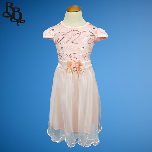 W120 Short Sleeve Girls Floral Leaf Party Dress