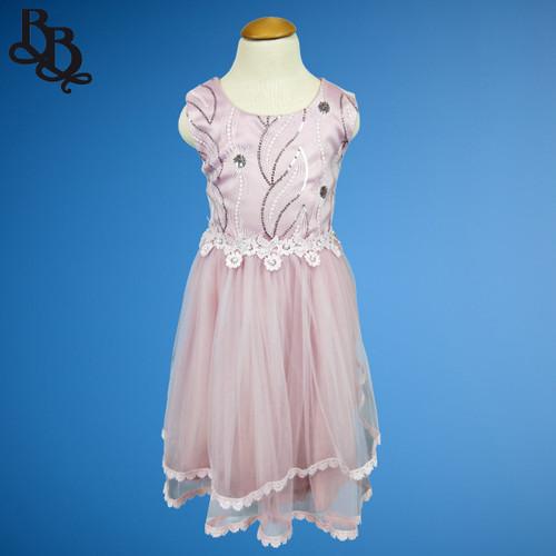 W121 Girls Taro Colour Floral Leaf Party Dress