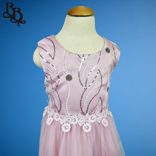 W121 Girls Taro Colour Floral Leaf Party Dress
