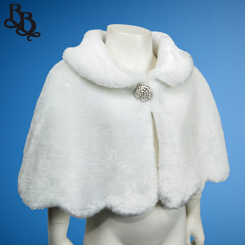 NN923 Faux Fur White Cape