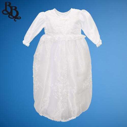 BU159 Baby Girls Shiny Satin Floral Christening Baptism Dress Gown