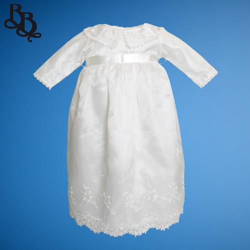 BU165 Baby Girls Long Sleeve Organza Satin Christening Dress Gown