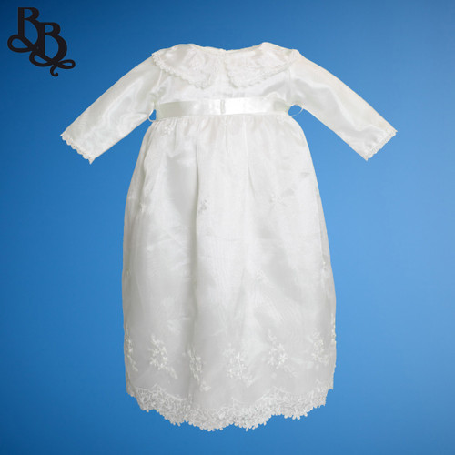BU165 Baby Girls Long Sleeve Organza Satin Christening Dress Gown