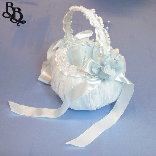 DT08 Colour Floral Lace and Pearl Flowergirl Wedding Basket