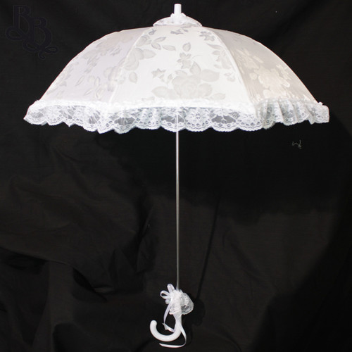 N105 Small White Floral Satin and Lace Parasol