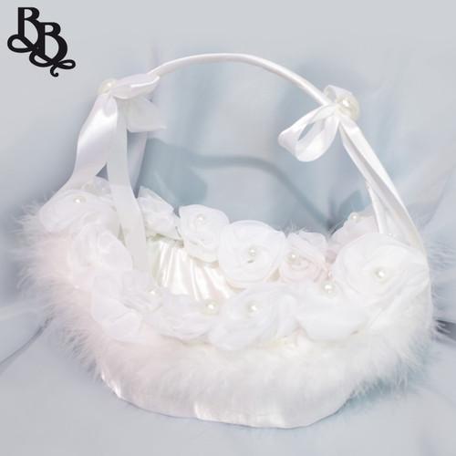 N110 Large Off White Faux Fur Oval Flowergirl Basket