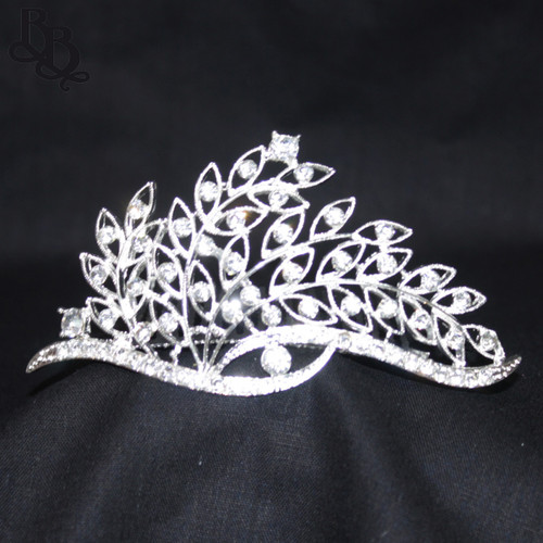 1064 Regular Size Twig Leaf Design Rhinestone Tiara