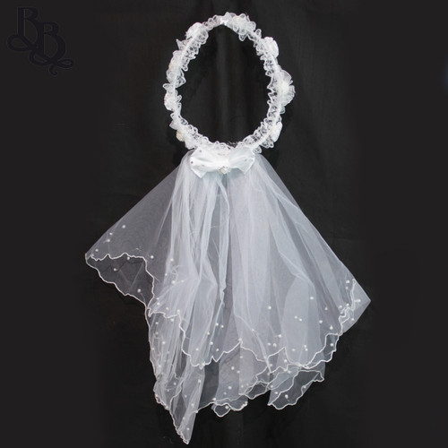 N106 Floral White Crown Headband