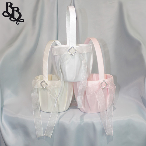L398 Simple Satin Diamante Flowergirl Basket
