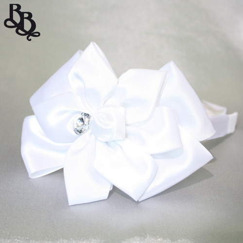 L525 White Floral Satin Ribbon Rhinestone Headband