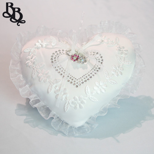 L394P Off White Heart Shaped Rhinestone Wedding Ring Pillow