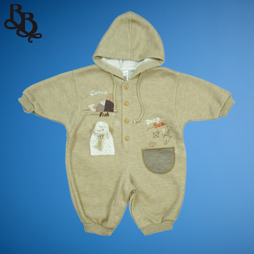 Baby winter brown cotton romper 9529
