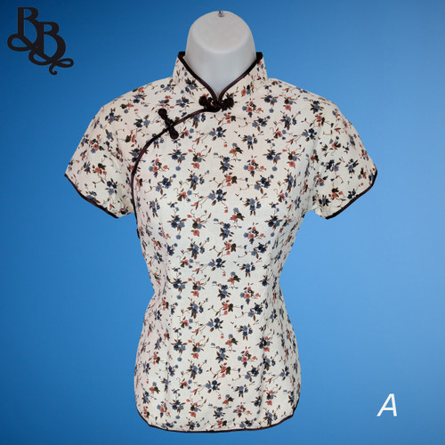 2040 Lady Chinese Cotton Canvas Oriental Top