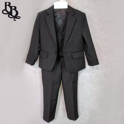 NN562 Boys Black Suit 3 Piece