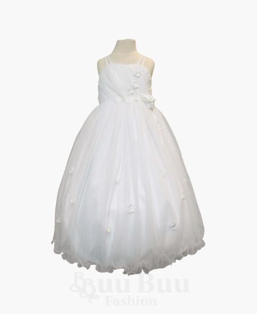 BU390 White Flowergirl Formal Dress
