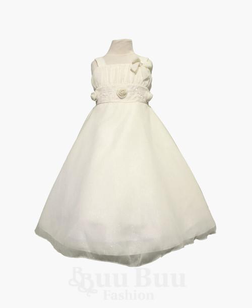 BU373 White Cream Flowergirl Short Formal Dress