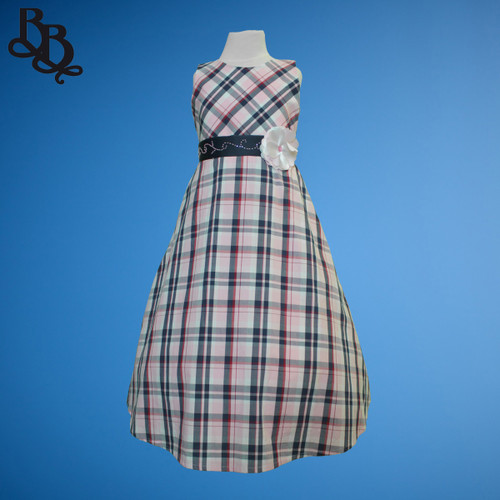 BU361 Pink Navy Plaid Cotton Dress