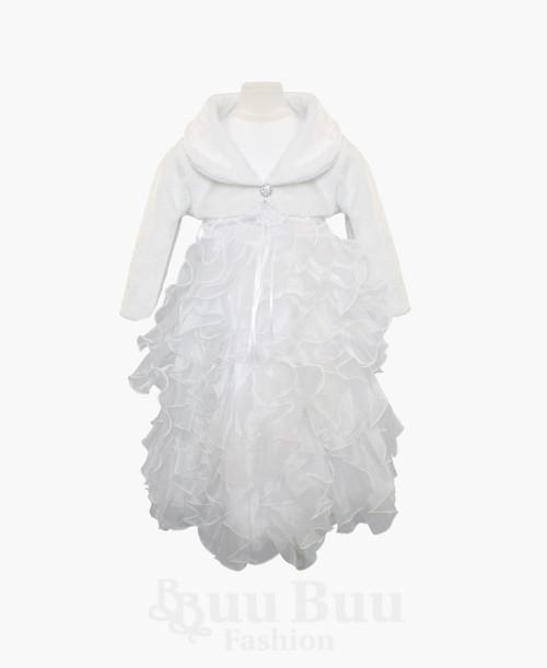 L501 White Faux Fur Bolero