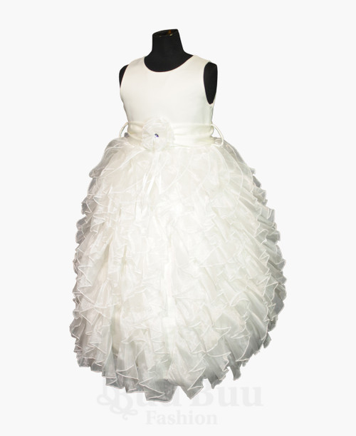 BU399 Girls Long Ruffled Party Dress