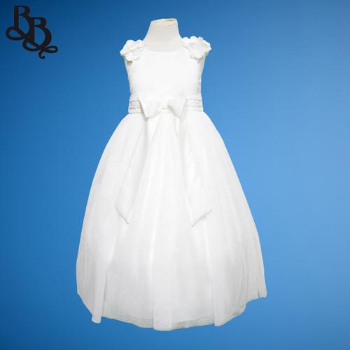BU398 Girl Toddler Floral Satin Tulle Formal Dress
