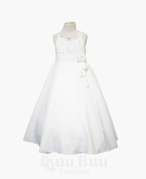 BU410 Formal Satin Dress with diamante