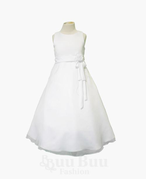 BU409 Simple White A Line Formal Satin Chiffon Dress