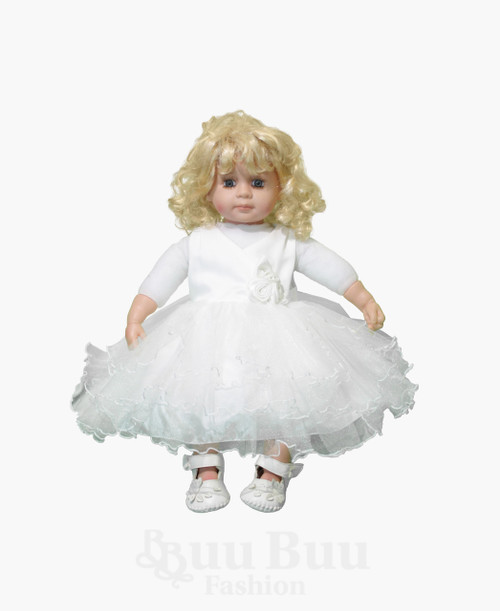 BU400 Off White Satin Tulle Flowergirl Dress