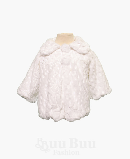 J516 Faux Fur Short Sleeve Pattern Bolero Jacket