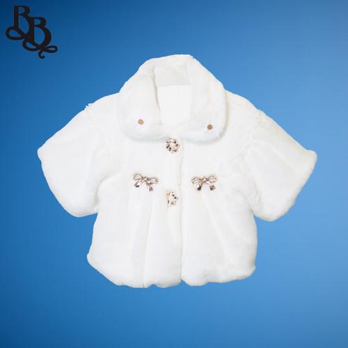 LL643 White Short Sleeve Faux Fur Bolero Jacket Gold Embellishment