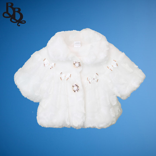 LL642 White Short Sleeve Faux Fur Bolero Jacket
