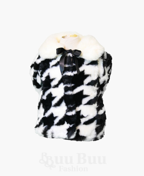 LL636 Black and White Long Sleeve Faux Fur Winter Jacket