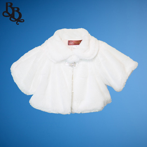 LL635 White Short Sleeve Faux Fur Bolero Jacket