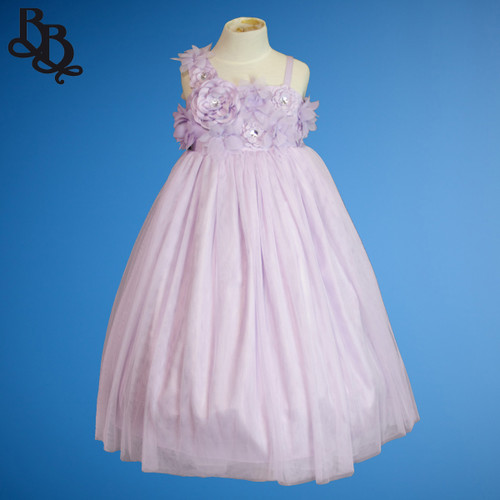 BU432 Floral Diamante and Tulle Flowergirl Dress