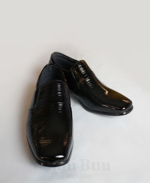 B308 Boys Pattern Patent Leather Formal Shoe