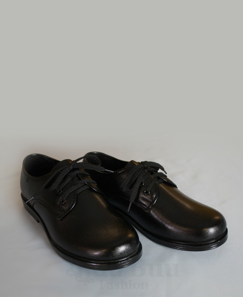 B306 Boys Black Lace Up Faux Leather School Shoe
