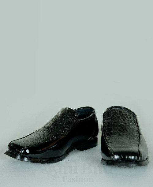 B300C Boys Toddler Faux Crocodile Skin Patent Leather Formal Shoe