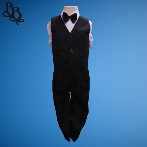 TT9N Pinstripe Black Page Boy Vest Suit